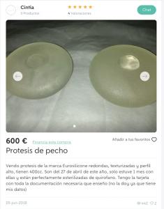 protesis mamarias en wallapop